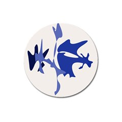 Blue amoeba abstract Magnet 3  (Round)
