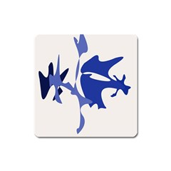 Blue amoeba abstract Square Magnet