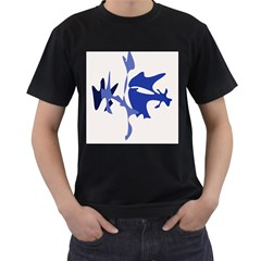 Blue amoeba abstract Men s T-Shirt (Black) (Two Sided)