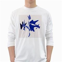 Blue amoeba abstract White Long Sleeve T-Shirts