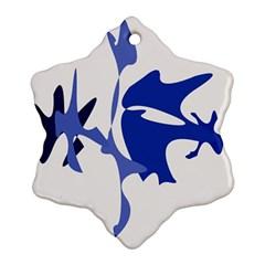 Blue amoeba abstract Snowflake Ornament (2-Side)