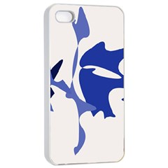 Blue amoeba abstract Apple iPhone 4/4s Seamless Case (White)
