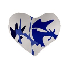 Blue amoeba abstract Standard 16  Premium Heart Shape Cushions
