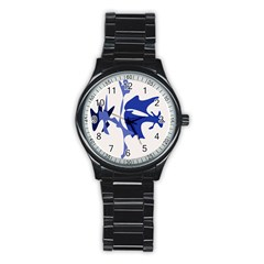 Blue amoeba abstract Stainless Steel Round Watch