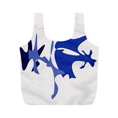 Blue amoeba abstract Full Print Recycle Bags (M)
