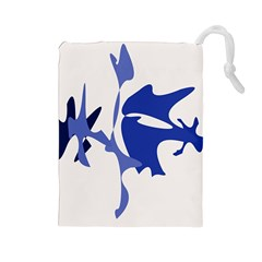 Blue amoeba abstract Drawstring Pouches (Large)