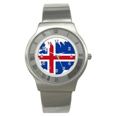 Iceland Flag Map Stainless Steel Watch