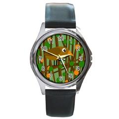 Brown bird Round Metal Watch