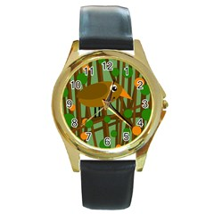 Brown bird Round Gold Metal Watch