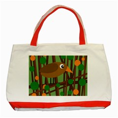 Brown bird Classic Tote Bag (Red)