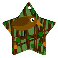 Brown bird Star Ornament (Two Sides)
