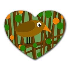 Brown bird Heart Mousepads