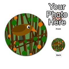 Brown bird Multi-purpose Cards (Round)
