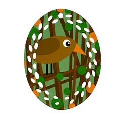 Brown bird Ornament (Oval Filigree)