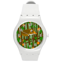 Brown bird Round Plastic Sport Watch (M)