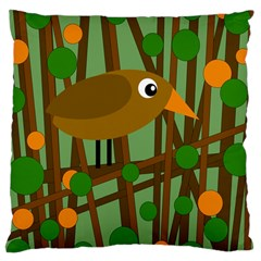 Brown bird Large Cushion Case (Two Sides)