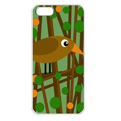Brown bird Apple iPhone 5 Seamless Case (White)