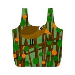 Brown bird Full Print Recycle Bags (M)