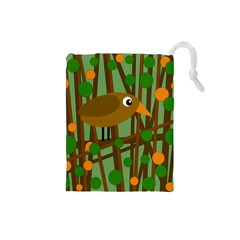 Brown bird Drawstring Pouches (Small)
