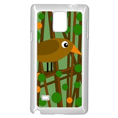 Brown bird Samsung Galaxy Note 4 Case (White)