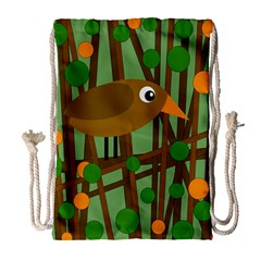 Brown bird Drawstring Bag (Large)