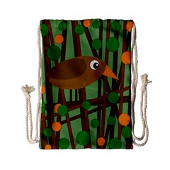 Brown bird Drawstring Bag (Small)