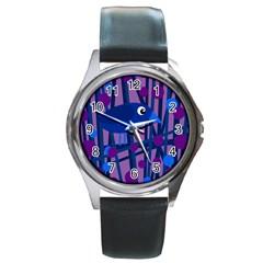 Purple bird Round Metal Watch