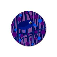 Purple bird Rubber Coaster (Round)