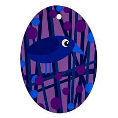 Purple bird Oval Ornament (Two Sides)