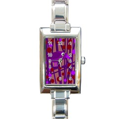 Sweet purple bird Rectangle Italian Charm Watch