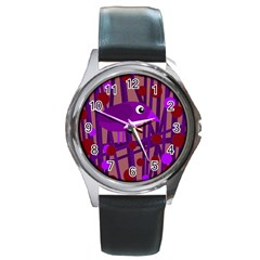 Sweet purple bird Round Metal Watch