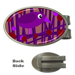 Sweet purple bird Money Clips (Oval)