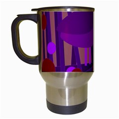Sweet purple bird Travel Mugs (White)