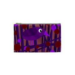 Sweet purple bird Cosmetic Bag (Small)