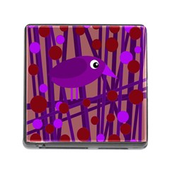 Sweet purple bird Memory Card Reader (Square)