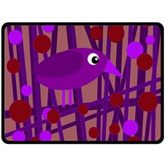 Sweet purple bird Fleece Blanket (Large)