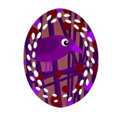 Sweet purple bird Ornament (Oval Filigree)