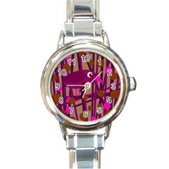 Cute magenta bird Round Italian Charm Watch
