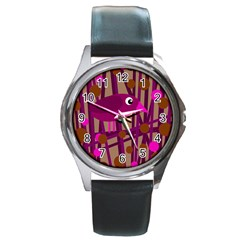 Cute Magenta Bird Round Metal Watch
