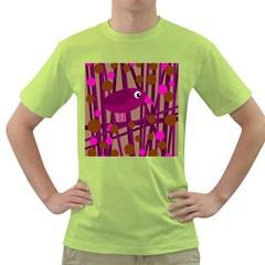 Cute magenta bird Green T-Shirt