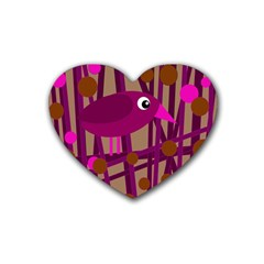Cute magenta bird Rubber Coaster (Heart)