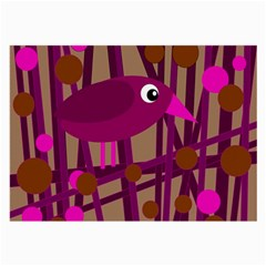 Cute magenta bird Large Glasses Cloth