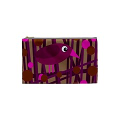 Cute magenta bird Cosmetic Bag (Small)
