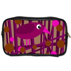 Cute magenta bird Toiletries Bags