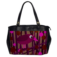 Cute magenta bird Office Handbags