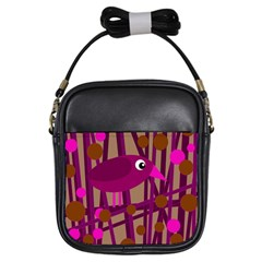Cute magenta bird Girls Sling Bags