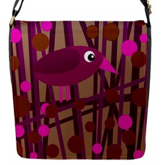 Cute magenta bird Flap Messenger Bag (S)