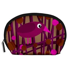 Cute magenta bird Accessory Pouches (Large)