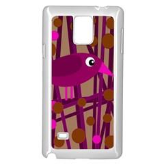 Cute magenta bird Samsung Galaxy Note 4 Case (White)