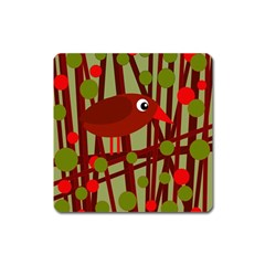 Red cute bird Square Magnet